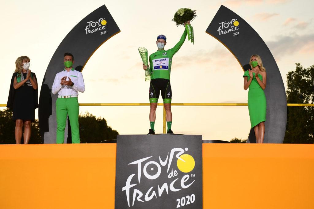 Tadej Pogačar zvítězil v Tour de France, na snímku vítěz bodové klasifikace Sam Bennett