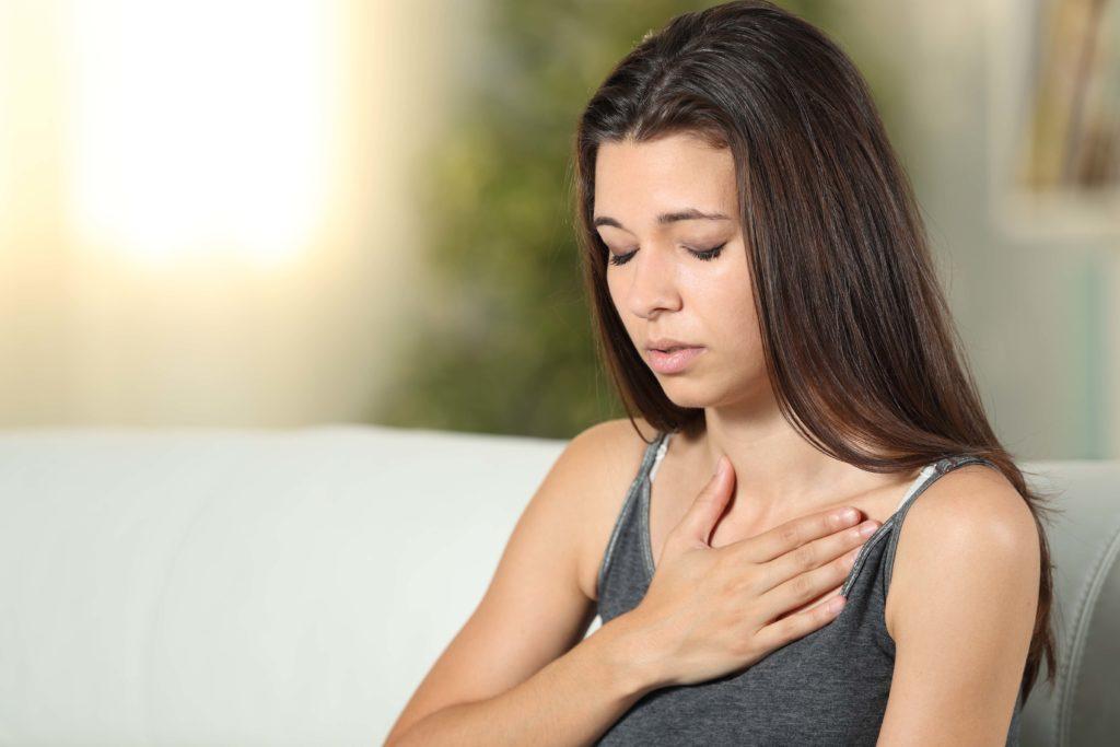 Žena - problémy s dýcháním
